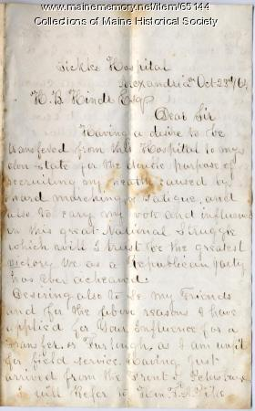 Letter seeking furlough to vote, Virginia, 1864