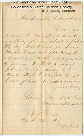 Underage soldier request for furlough, Washington, 1864