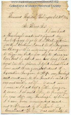 Soldier inquiry on canceled furlough, Washington, 1864