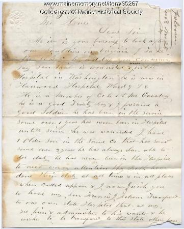 Father's request for transfer of injured son, Fayette, 1864