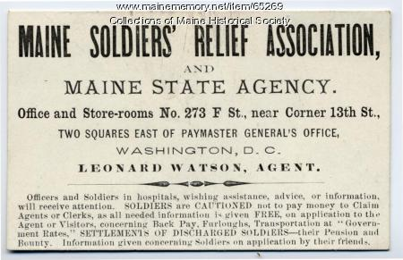 Maine Soldiers' Relief Association card, Washington