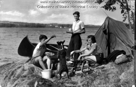 Family camping, Damariscotta Lake, ca. 1950