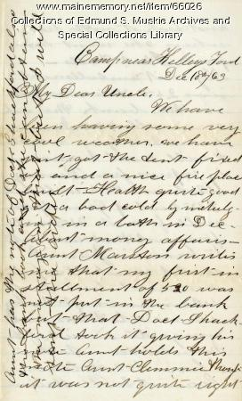 Charles Garcelon to uncle on finances, Virginia, 1863