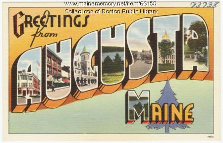 Greetings from Augusta souvenir postcard, ca. 1938