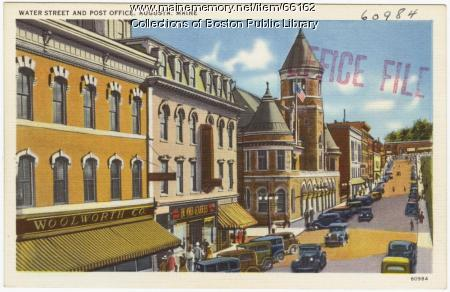 Water Street and post office, Augusta, ca. 1938