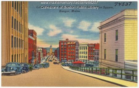 Towards Post Office Square, Bangor, ca. 1938