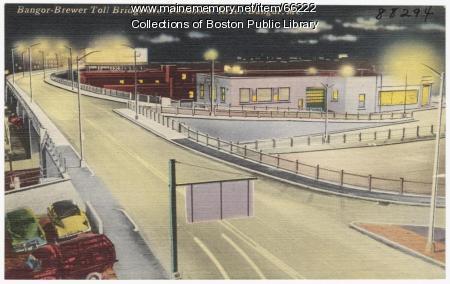 Bangor-Brewer toll bridge, Bangor, ca. 1935
