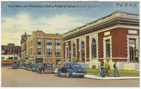 Post office and Washington Street, Biddeford, ca. 1940