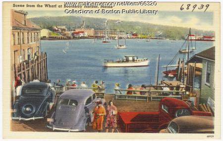 View from the wharf, Boothbay Harbor, ca. 1938