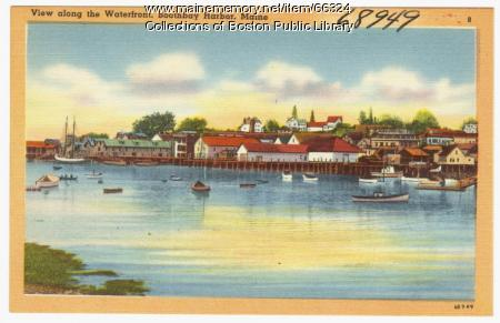 View along the waterfront, Boothbay Harbor, ca. 1938