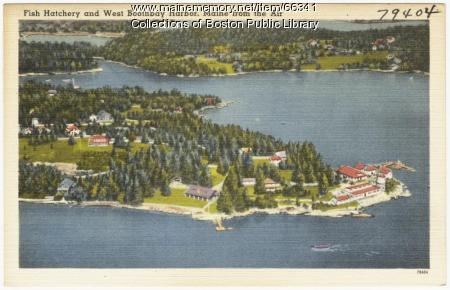 Aerial view of West Boothbay Harbor, ca. 1938