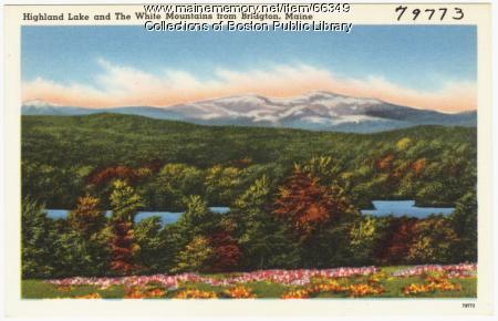 Highland Lake and The White Mountains from Bridgton, ca. 1938