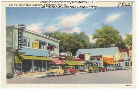 Post Office Square, Bridgton, ca. 1938