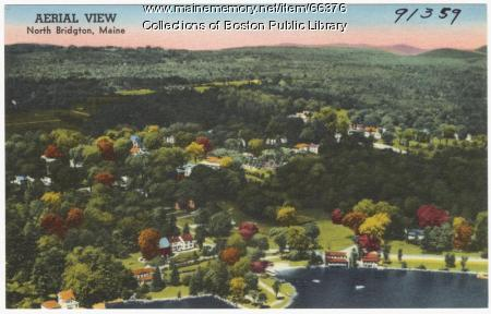 NOT IDENTIFIABLE AS MAINE Aerial view of north Bridgton,  ca. 1938