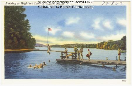 Bathing at Highland Lake, Bridgton, ca. 1938