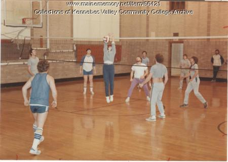 Gilman School students playing volleyball, Waterville, 1983