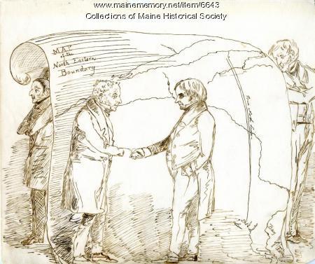 Webster-Ashburton Treaty cartoon, Fort Kent, ca. 1842