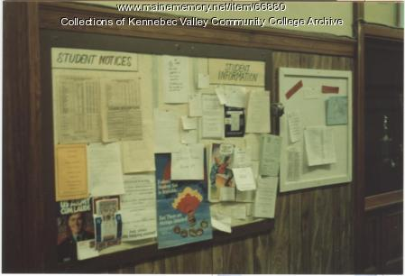 Gilman School bulletin board, Waterville, 1983