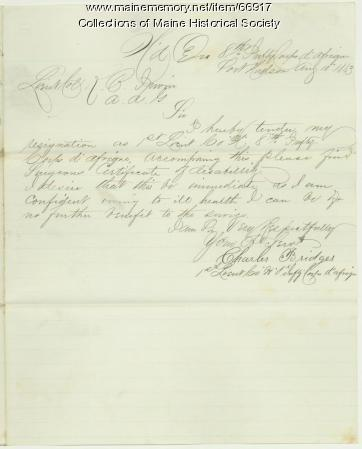 Charles Bridges resignation, Port Hudson, LA, 1863
