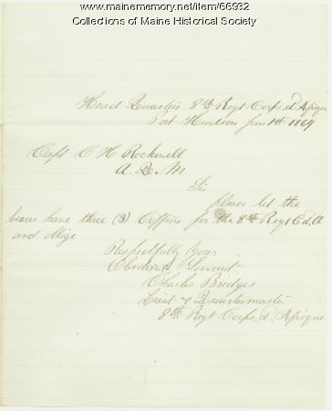 Lt. Charles Bridges request for coffins, Port Hudson, 1864