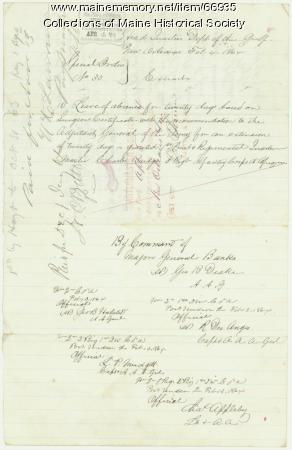 Lt. Charles Bridges leave orders, New Orleans, 1864