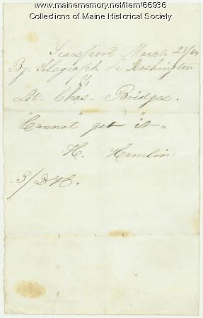 H. Hamlin telegraph to Lt. Charles Bridges, Washington, 1864