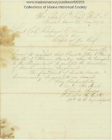 Lt. Charles Bridges to Richard B. Irwin, Bonnet Carre, LA, 1864