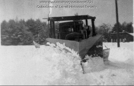 Tractor plowing snow, Lovell,  ca. 1930