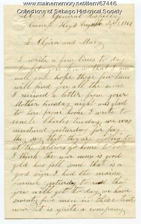 William Haley letter on army camp, 1864