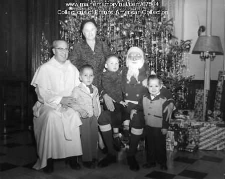Santa Claus at the Healey Asylum, Lewiston, c.1950