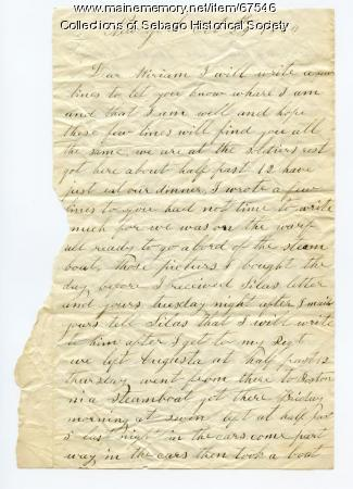 William Haley Jr. letter from New York to his wife Miriam, 1864
