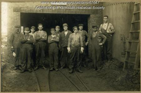 Forest Paper Co. workers on railbed, Yarmouth, ca. 1900