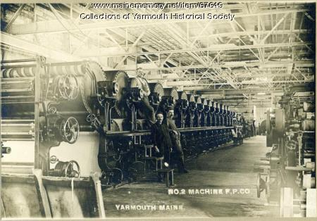 Machine room workers, Forest Paper Co., Yarmouth, ca. 1900