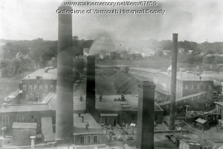 Forest Paper Co. smokestacks, Yarmouth, ca. 1900