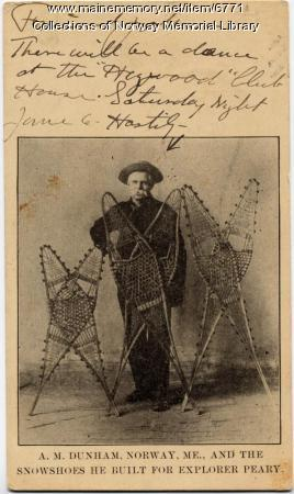 A.M. Dunham and his snowshoes ca. 1909