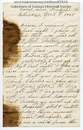 William Haley Jr. letter to his wife Miriam, Winchester, Va., 1865