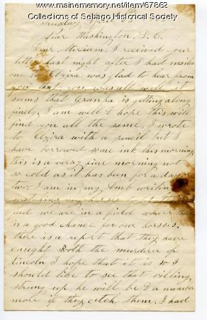 William Haley, Jr. letter to his wife, Miriam,  1865