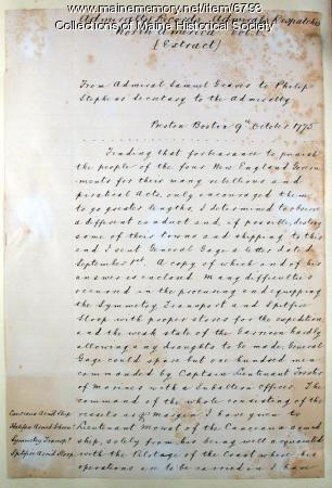 Copy of letter from Samuel Graves to Philip Stephens, 1775