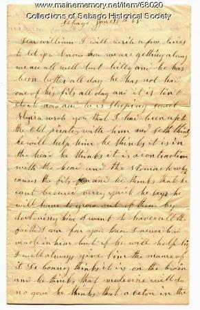 Miriam Haley letter to William Haley Jr.,  1865