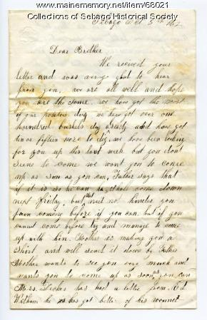 Horatio Cole writes to Charles Cole
