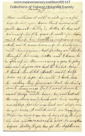 Letter from Miriam Haley to William Haley, Jr., Sebago, 1865