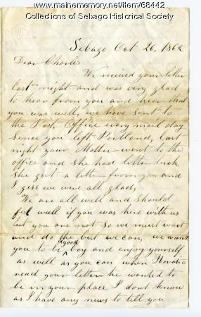 Family writes to Charles Cole in Washington, DC Oct 1862