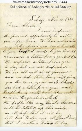 Benjamin Cole to son Charles, Sebago, 1862