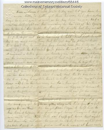 Letter from Miriam Haley to her husband William, 1865