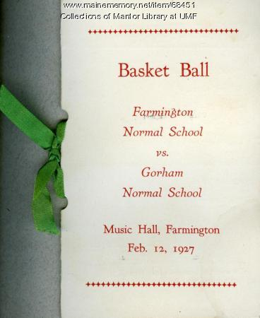 Basketball scorecard, Farmington State Normal School, 1927