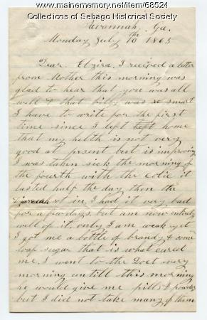 William Haley letter from Savannah to his daughter Elzira, 1865