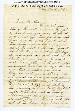 Ella Cole to brother Charles, Sebago, 1862