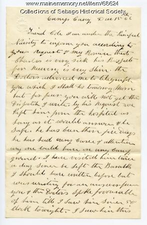Letter about Pvt. Cole serious illness, near Washington, D.C., 1862