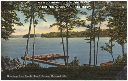 Messalonskee Lake and canoes, Oakland, ca. 1935