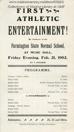 Athletic Entertainment Programme, Farmington State Normal School, February 21, 1902